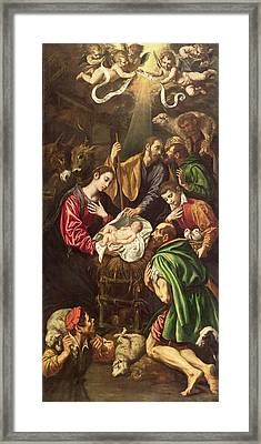 The Adoration Of The Shepherds, C.1620 Framed Print by Luis Tristan de Escamilla