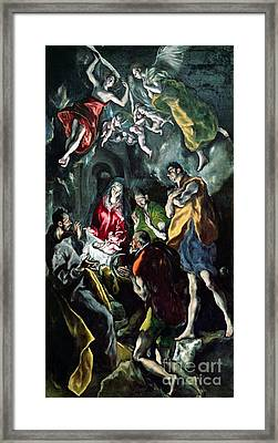 The Adoration Of The Shepherds From The Santo Domingo El Antiguo Altarpiece Framed Print by El Greco Domenico Theotocopuli