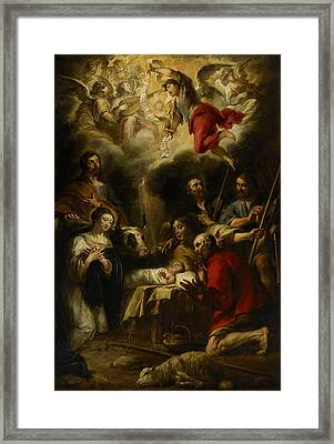 The Adoration Of The Shepherds Framed Print by Jan Cossiers