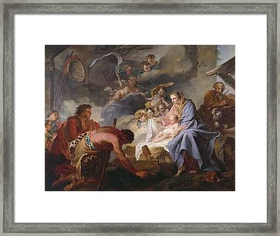 The Adoration Of The Shepherds Framed Print by Jean Baptiste Marie Pierre