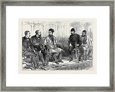 The Afghan War Negotiating Peace With Yakoob Khan At Hashim Framed Print by English School