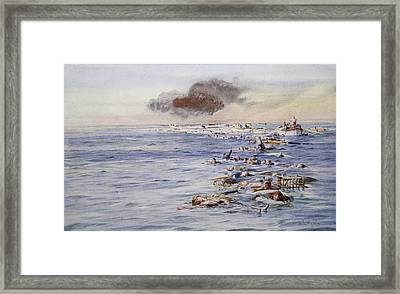 The Aftermath Of The Lusitania Framed Print by William Lionel Wyllie