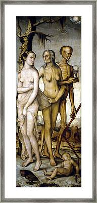The Ages Of Man And Death Framed Print by Hans Baldung