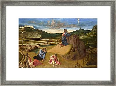 The Agony In The Garden Framed Print by Giovanni Bellini