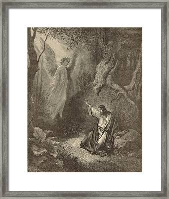 The Agony In The Garden Framed Print by Antique Engravings