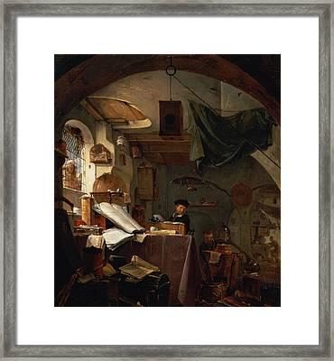The Alchemist Oil Framed Print by Thomas Wyck