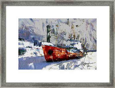 Framed Print featuring the digital art The Alexander Henry In Winter by Jim Vance