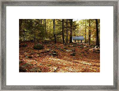 The Alfred Reagan Cabin Autumn Framed Print by John Saunders