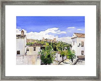 The Alhambra From The Albaicin Framed Print by Margaret Merry