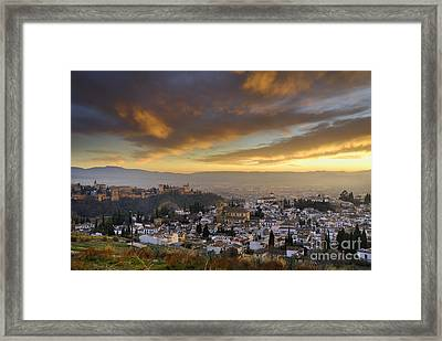 The Alhambra Granada And Albaicin At Sunset Framed Print by Guido Montanes Castillo