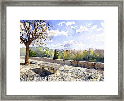 The Alhambra In Autumn Framed Print by Margaret Merry