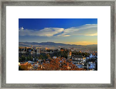 The Alhambra Palace And Granada Framed Print by Guido Montanes Castillo
