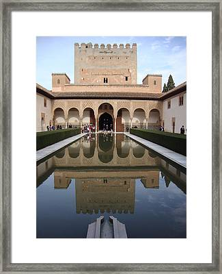 The Alhambra Palace Reflecting Pool Framed Print by David  Ortiz
