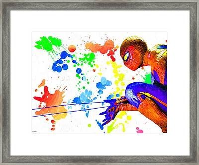 The Amazing Spider-man Watercolor Framed Print by Daniel Janda