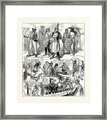 The American Centenary Festival Sketches In Philadelphia Framed Print by American School