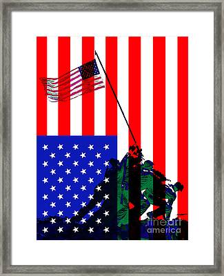 The American Flag Over Iwo Jima 20130210 Framed Print by Wingsdomain Art and Photography