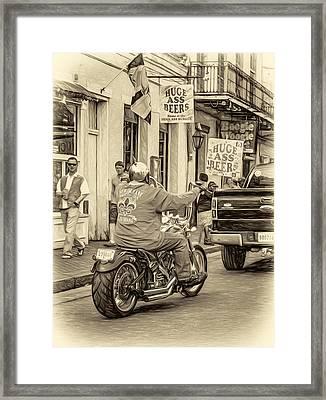 The American Way - Harleys Pickups And Huge Ass Beers - Sepia Framed Print by Steve Harrington