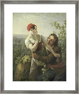 The Amorous Vineyard Laborer, Peter Paul Joseph Noël Framed Print by Litz Collection