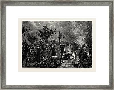 The Ancient Custom Of Wood Lopping At Midnight In Epping Framed Print