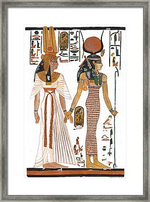The Ancient Egyptian Goddess Isis Leading Queen Nefertari Framed Print by Ben  Morales-Correa