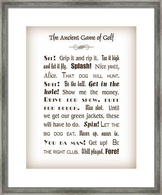 The Ancient Game Of Golf - Sepia Framed Print by Cricket Hackmann