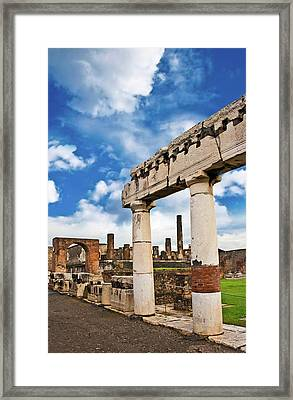 The Ancient Ruins Of Pompeii, Italy Framed Print by Miva Stock