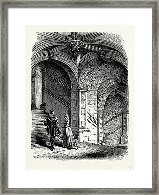 The Ancient Stone Staircase, Burleigh House Framed Print by Litz Collection