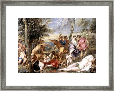 The Andrians A Free Copy After Titian Framed Print by Peter Paul Rubens