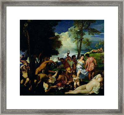 The Andrians, C.1523-4 Oil On Canvas Framed Print by Titian