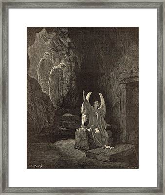 The Angel At The Sepulchre Framed Print by Antique Engravings