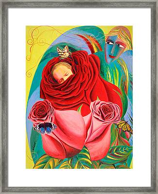 The Angel Of Roses Framed Print