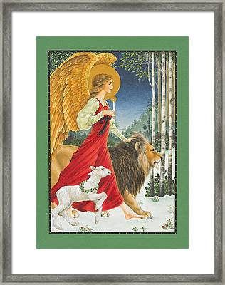 The Angel The Lion And The Lamb Framed Print by Lynn Bywaters