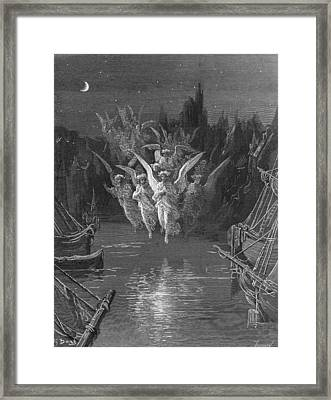 The Angelic Spirits Leave The Dead Bodies And Appear In Their Own Forms Of Light Framed Print by Gustave Dore