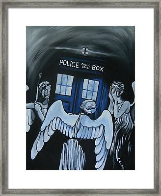 The Angels Have The Phone Box Framed Print by Lisa Leeman