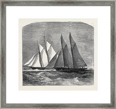 The Anglo-american Yacht Race Between The Sappho Framed Print by English School