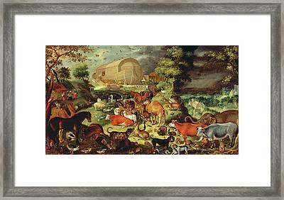The Animals Entering The Ark Framed Print by Jacob II Savery