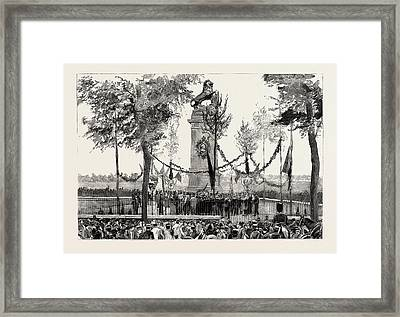 The Anniversary Of The Battle Of Waterloo, The Statue Framed Print by Belgian School