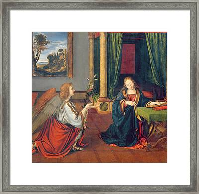 The Annunciation, 1506 Oil On Panel Framed Print