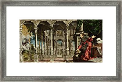 The Annunciation, 1545-50 Oil On Canvas For Detail See 89724 Framed Print by Paris Bordone