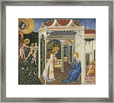 The Annunciation And Expulsion From Paradise Framed Print by Giovanni di Paolo di Grazia