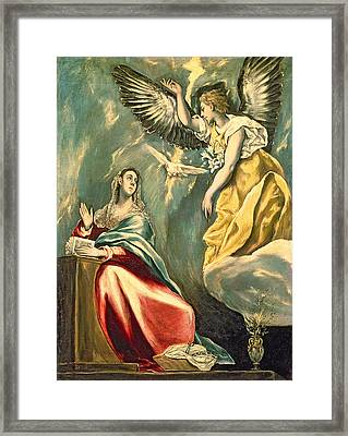 The Annunciation, C.1595-1600 Oil On Canvas Framed Print by El Greco