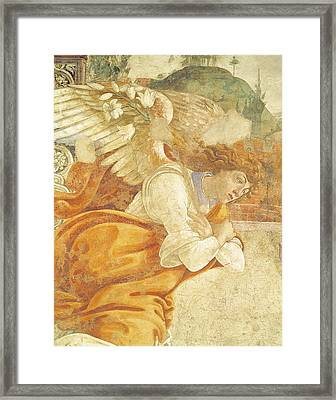 The Annunciation, Detail Of The Archangel Gabriel, From San Martino Della Scala, 1481 Fresco Framed Print by Sandro Botticelli