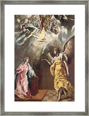 The Annunciation Framed Print by El Greco Domenico Theotocopuli
