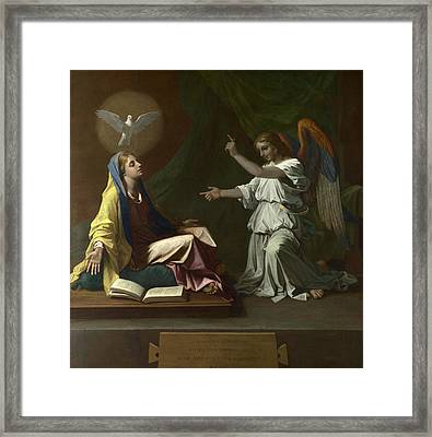 The Annunciation Framed Print by Nicolas Poussin