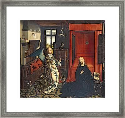 The Annunciation Oil On Panel Framed Print by Rogier van der Weyden