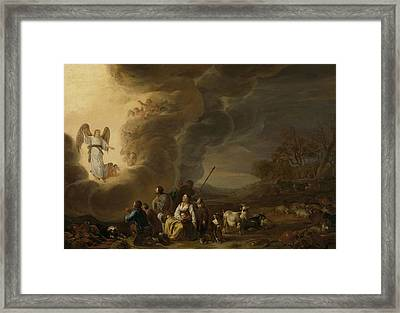 The Annunciation To The Shepherd, Cornelis Saftleven Framed Print by Litz Collection