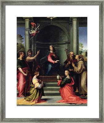 The Annunciation With Saints, 1515 Oil On Panel Framed Print