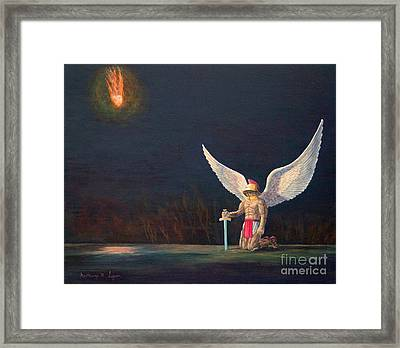 The Anointing Of St Michael Framed Print by Anthony Lyon