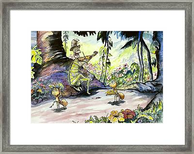 The Ant And The Grasshopper Framed Print