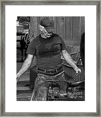The Anvil And The Horseshoe Bw Framed Print by Lesa Fine
